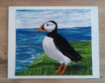 Puffin felt wool painting