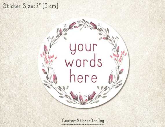 Custom stickers with your words watercolor flower wreath 2 round wedding sticker envelope seal favor sticker product label s 140 from