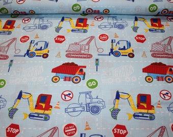 Kids fabric, 100% cotton, medium, truck, construction
