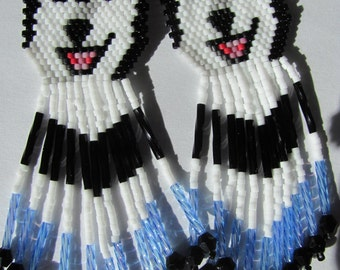 36 Hand Beaded  Laughing Black wolf, Husky, malamute dog earrings with light blue and black in fringe