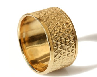Wide Gold wedding band, men band,Textured  Wedding Band, 14k solid Gold ,Stars Texture wedding band, gold ring, Handmade flower of life band