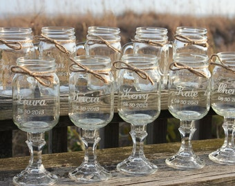 10 Mason jars, 5 Redneck Wine Glasses , 5 mason jar mug Set, Bridal Wedding Party, mason jars, 10 jars