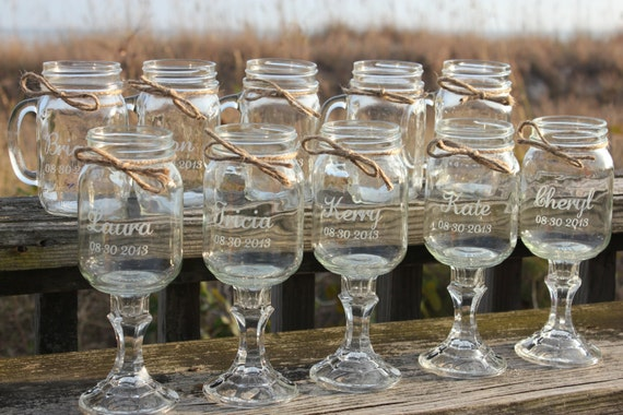 10 Mason jars 5 Redneck Wine Glasses 5 mason jar mug Set