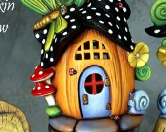 Unpainted Ceramic Bisque Pumpkin Fairy House Autumn Fairy Garden Ready to Paint Ceramic Bisque Paint Your Own Pottery U Paint Ceramic Bisque