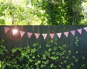 Pink Glittery Paper Garland Banner Bunting | Modern Wedding Bridal Shower Birthday Decoration | Bold Hot Pink Dots Glitter Photo Prop Flags