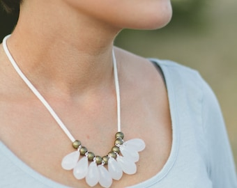 single layer milky opaque white briolette and golden brass necklace