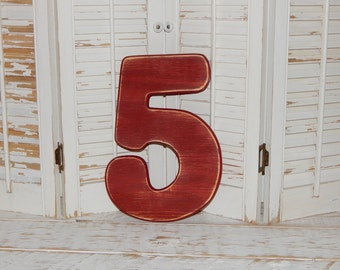 Number 5 Distressed Numbers Wall Decor Birthday Party Props Wood Numbers