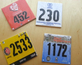 Set of 5 Race Bib Coasters - Your race bibs individually turned into coasters - Race Bib - Gifts for Runners Race bib display