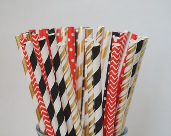 Red and Black Party Straws, Red, Gold & Black Straws, Bachelorette Party Decorations, Valentines Day Decor, Birthday Party Straws, 25 Pcs