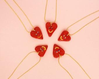 Happy Heart Necklace, Valentine Necklace, Ceramic Heart