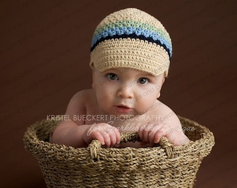 "Crocheted Newsboy Hat ""The Alex"" Beige, Navy, Light Blue, Celery Brimmed Hat Visor Beanie Choose Your Size"