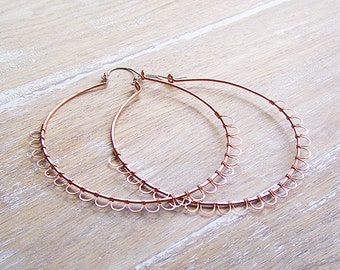 Big Copper and Sterling Silver Wire Wrapped Hoops, Big Hoops, Lever Style Hoops, Lace Hoops, Boho Hoops
