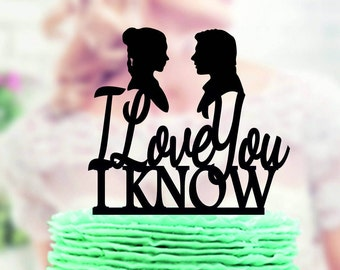 Star Wars Wedding Cake Topper , Han & Leia ,  I Love you I Know, love you i know,  Han Solo, wedding cake topper Star Wars, Star Wars topper