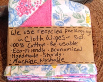 5 Willow Wipes, Family Cloth, Baby Wipes, Floral, Pink, Girl, Cloth Wipes, Family Cloth, Mom