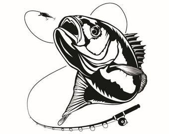 Bass Fishing #6 Logo Angling Fish Hook Fresh Water Hunting Largemouth Smallmouth Striped .SVG .EPS .PNG Clipart Vector Cricut Cut Cutting