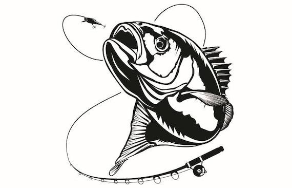 Bass Fishing 6 Logo Angling Fish Hook Fresh Water Hunting