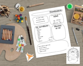 Fox gift, birthday school, fox bookmarks, fox coloring page, interview. School gift for the class + School Interviews