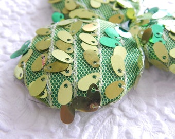 Green net paillette  fabric buttons,  1 7/8 inches, 4.7 cm, 48.26 mm, size 75 buttons, price per button