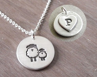 Personalized Small Mother and Baby Sheep Necklace, Lamb, New Mom Necklace, Sheep Monogram, Fine Silver, Sterling Silver Chain, Made To Order