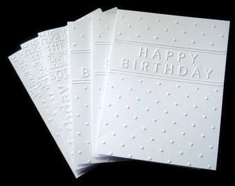 Set of 6 Embossed Happy Birthday Cards 2 Different Designs