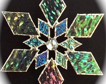 stained glass snowflake suncatcher (design 1C)