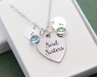 Soul Sisters Necklace, Sisters Necklace, Sisters Jewelry, Soul Sisters gift, Best Friend Gift, Gift for Sister, Sister Birthday Gift Ideas
