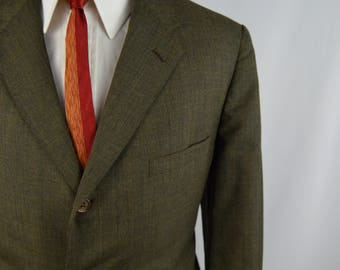 Vintage 1960s Olive Green 2 Piece Suit Size 41/42S