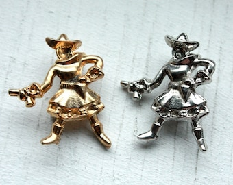 Vintage 1960s Silver OR Gold Coloured Cowgirl Brooch // Rodeo Roundup Pin Up // Rhinestone Settings
