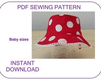 Bucket hat pattern Beach hat Summer hat Baby sun hat pattern Sewing pattern and tutorial Baby hat pattern Minnie hat pattern Toddler sun hat