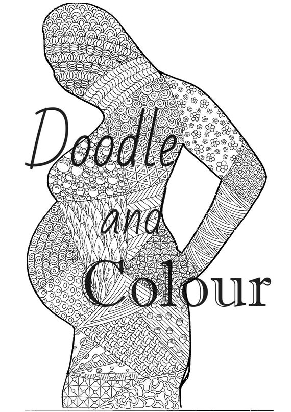 Pregnant Woman Adult Colouring Page Instant Download