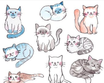 Cute Watercolor Cats and Kittens clipart. 21 royalty free clip art images, scrapbooking, planner stickers, PNG and JPG Instant Download