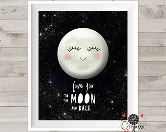 Moon print-Love you to the moon and back-Cute Nursery wall art-Love you to the moon poster-Neutral gender Moon illustration
