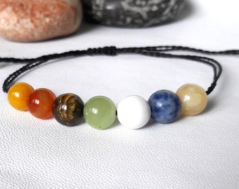 7 Chakra Bracelet, Crystal Bracelet, Crystal Healing Bracelet, Yoga Bracelet, Intent Bracelet, Mens Bracelet, Protection Bracelet, mens gift