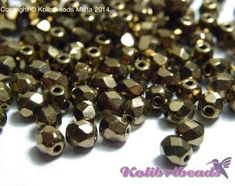 Fire polished Czech Glass Beads 4 mm - Gold Bronze