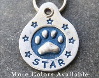 Hand Stamped Pet ID Tag - Personalized Pet/Dog Tag - Dog Collar Tag - Custom Dog Tag - Handstamped Pet Tag - Metal Dog Tag - Paw Print Stars