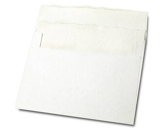 "Handmade paper cotton whiteEnvelope and Card, Set of 10, 5""x 7"""