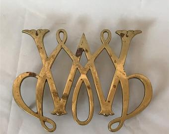 Vintage Brass Virginia Metal Crafters William & Mary Williamsburg Cipher Trivet