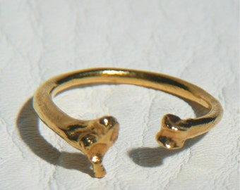 Gold Plated Open Bone Ring in Sterling Silver 14k gold coat Nature cast Snake and Rat Bone Taxidermy Jewelry Open Horseshoe band