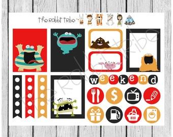 Weekly sticker set - Monsters! - planner stickers