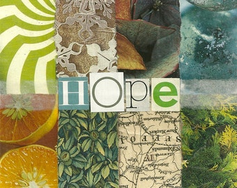 Hope. Holiday Design Decorative Ceramic Art Tile Coaster. Paper Collage and Word Design. 4.25 inches.