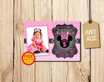 MINNIE MOUSE INVITATION 1st Birthday Invitation Minnie Mouse