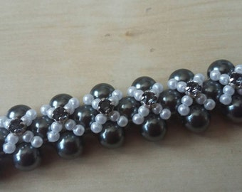 Handwoven Beaded Bracelet with Black Crystals