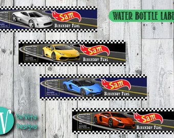 Personalized Bottle Labels | Hot Wheels Bottle Label | Water Bottle Labels | Party Labels | DIY | Printable Labels | Party Decor Labels