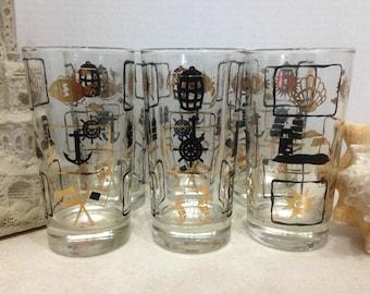 Beach Themed Glasses, Set of Six Beachware Glasses, Dominion Glasses