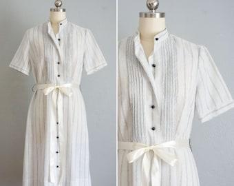 1960s Henrietta stripe linen blend dress | vintage 60s Henry Lee dress | striped blue dress