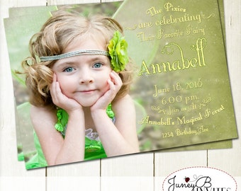 Fairy Birthday Invitation with Picture, Fairy Invite