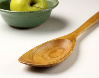 Right handed Cherry wooden spatula spoon hand carved kitchen utensil , house warming gift