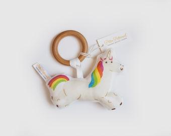 Organic Unicorn 1 Rattle - Unicorn Toy - Baby Rattle / Baby Gift / Natural Wood Rattle / Wood Toy / Baby Toy / Baby Shower Gift / Montessori