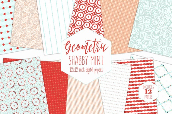 PEACH MINT Digital Paper Pack Shabby Chic Backgrounds Stripe Mandala Scrapbook Papers Geometric Boho Patterns Party Printable Clipart From ClipArtBrat On