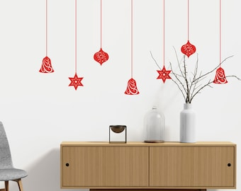 Christmas Baubles Wall Decal
